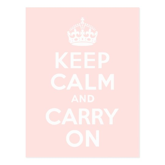 Misty Rose Keep Calm and Carry On Postcard