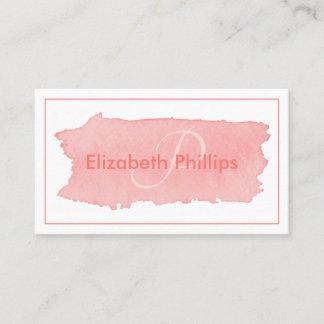 Misty Rose Monogram Brushstroke Stylish Business Card