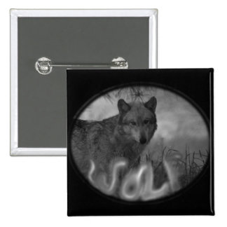 MISTY SMOKIN WOLF - VERY EERIE PINBACK BUTTON