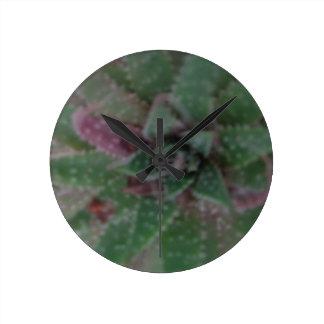 Misty Succulent, Green Purple, Nature, Flora Plant Round Clock