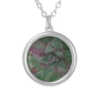 Misty Succulent, Green Purple, Nature, Flora Plant Silver Plated Necklace