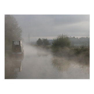 Misty Sunrise Llangollen Canal Postcard