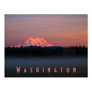 Misty sunset over Mount Rainier Postcard