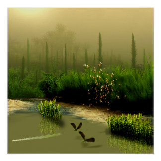 misty swamp poster