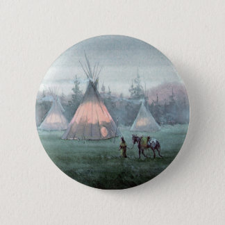 MISTY TIPI CAMP by SHARON SHARPE Pinback Button