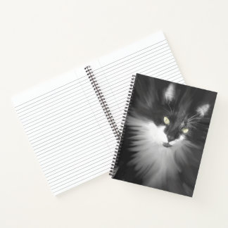 Misty Tuxedo Cat Notebook