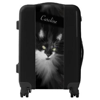 Misty Tuxedo Cat Personalized Luggage