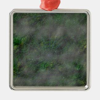 Misty Web Silver-Colored Square Decoration