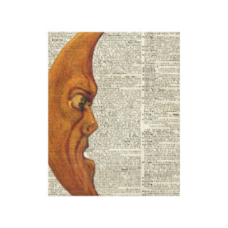 Mistycal Miedieval Moon Face Vintage Illustration Canvas Print