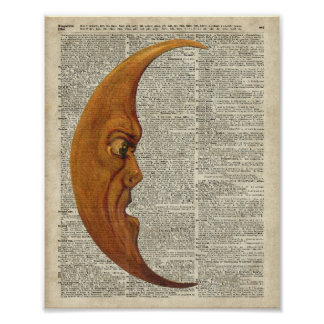 Mistycal Miedieval Moon Face Vintage Illustration Poster