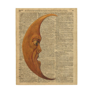 Mistycal Miedieval Moon Face Vintage Illustration Wood Wall Decor
