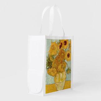 Mit 12 Sonnenblumen de Stilleben de Vincent van Go Bolsas Reutilizables