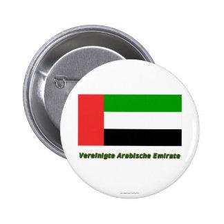 Mit Namen de Flagge del emirato de Vereinigte Arab Pin Redondo 5 Cm