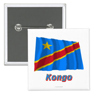 Mit Namen de Flagge del Kongo de Demokratische Rep Pin Cuadrada 5 Cm