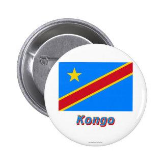 Mit Namen de Flagge del Kongo de Demokratische Rep Pin Redondo 5 Cm