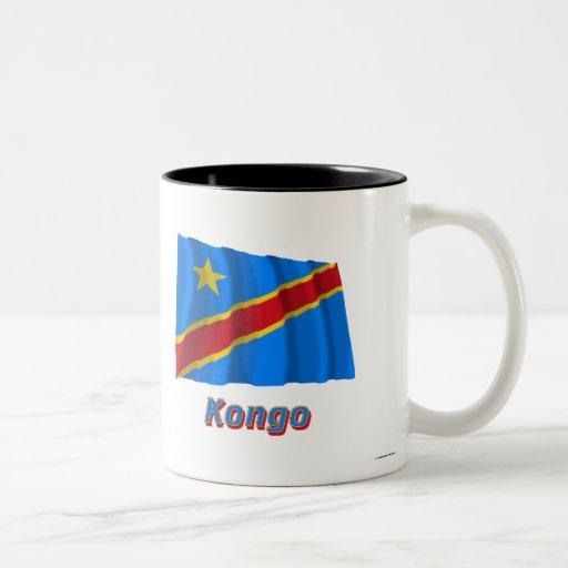 Mit Namen de Flagge del Kongo de Demokratische Rep Taza Dos Tonos