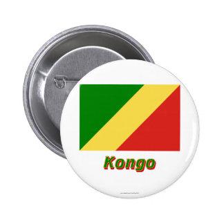 Mit Namen de Flagge del Kongo de Republik Pin Redondo 5 Cm