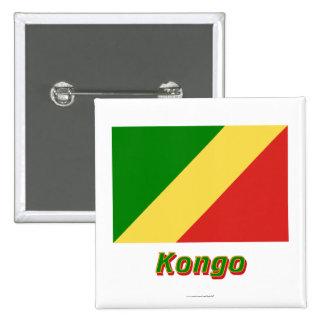 Mit Namen de Flagge del Kongo de Republik Pin Cuadrada 5 Cm