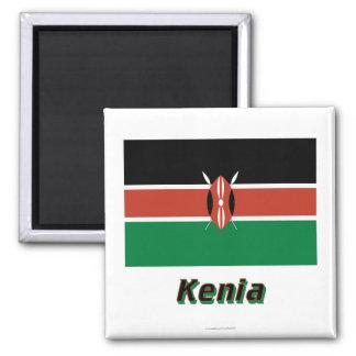 Mit Namen de Kenia Flagge Imán Cuadrado