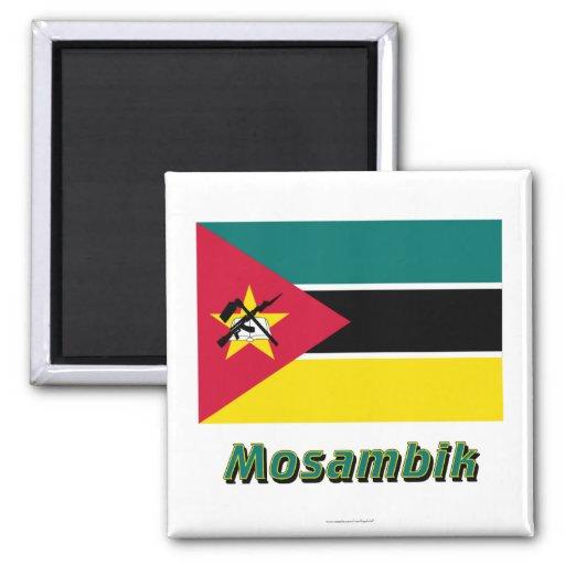 Mit Namen de Mosambik Flagge Imán Cuadrado