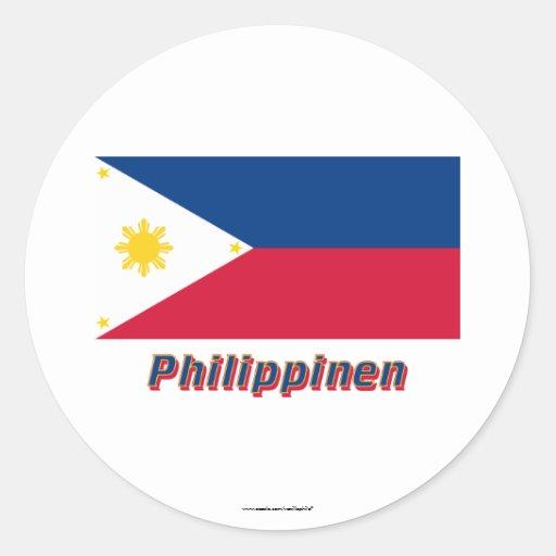 Mit Namen de Philippinen Flagge Pegatinas Redondas