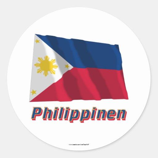 Mit Namen de Philippinen Fliegende Flagge Pegatina Redonda