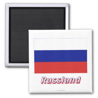 Mit Namen de Russland Flagge Imán Cuadrado