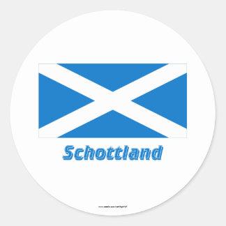 Mit Namen de Schottland Kreuzflagge Pegatina Redonda