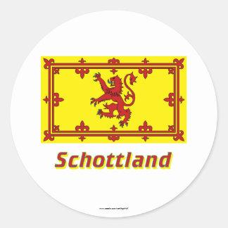 Mit Namen de Schottland Löwenflagge Pegatina Redonda