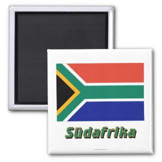 Mit Namen de Südafrika Flagge Imán Cuadrado