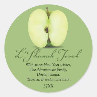 Mitad de Apple verde Rosh Hashanah Pegatinas Redondas