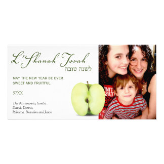 Mitad de Apple verde Rosh Hashanah Tarjeta Fotografica Personalizada