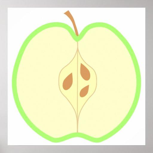 Mitad de un Apple verde Póster