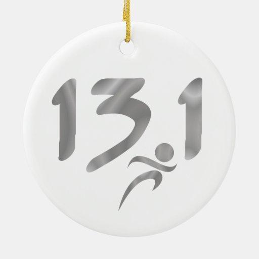 Mitad-maratón 13,1 de la plata adorno redondo de cerámica