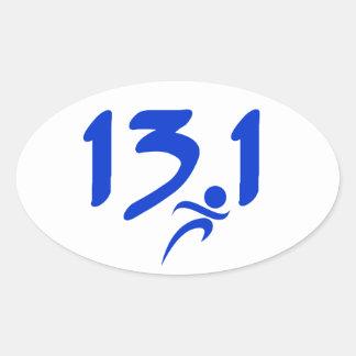 Mitad-maratón 13 1 del azul pegatinas de óval personalizadas