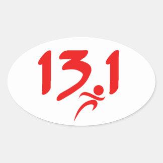 Mitad-maratón 13 1 del rojo colcomanias de ovaladas