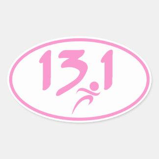 Mitad-maratón 13 1 del rosa calcomanía de óval