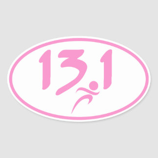 Mitad-maratón 13,1 del rosa pegatina ovalada