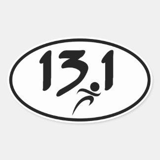 mitad-maratón 13,1 pegatina ovalada