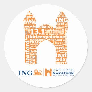 Mitad-Maratón de Hartford: Arco Pegatina Redonda