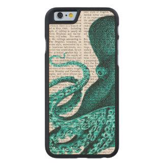 Mitad verde del pulpo funda de iPhone 6 carved® slim de arce