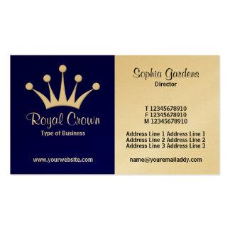 Mitad y medio (corona) - azul marino (oro) tarjetas de visita