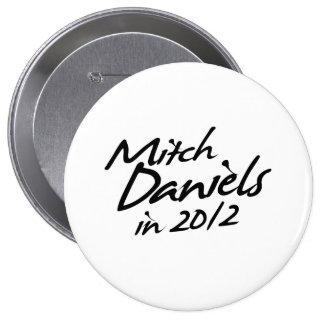 MITCH DANIELS 2012 Autograph 4 Inch Round Button