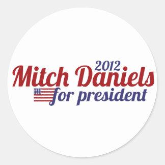 Mitch Daniels para el presidente 2012 Pegatina Redonda