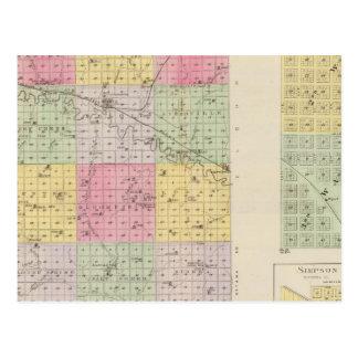 Mitchell County, Cawker City, Simpson, Kansas Postcard