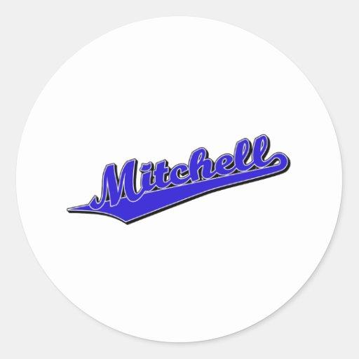 Mitchell en azul etiquetas redondas