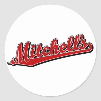 Mitchell's in Red Classic Round Sticker