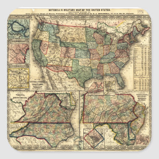 Mitchell's Military Map of the United States 1861 Square Sticker