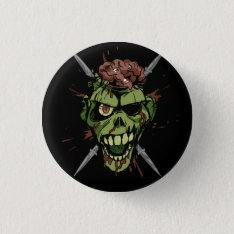 Mitch's Zombie Graphic Pinback Button at Zazzle