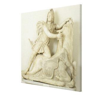 Mithras Sacrificing the Bull, Marble relief, Roman Canvas Print